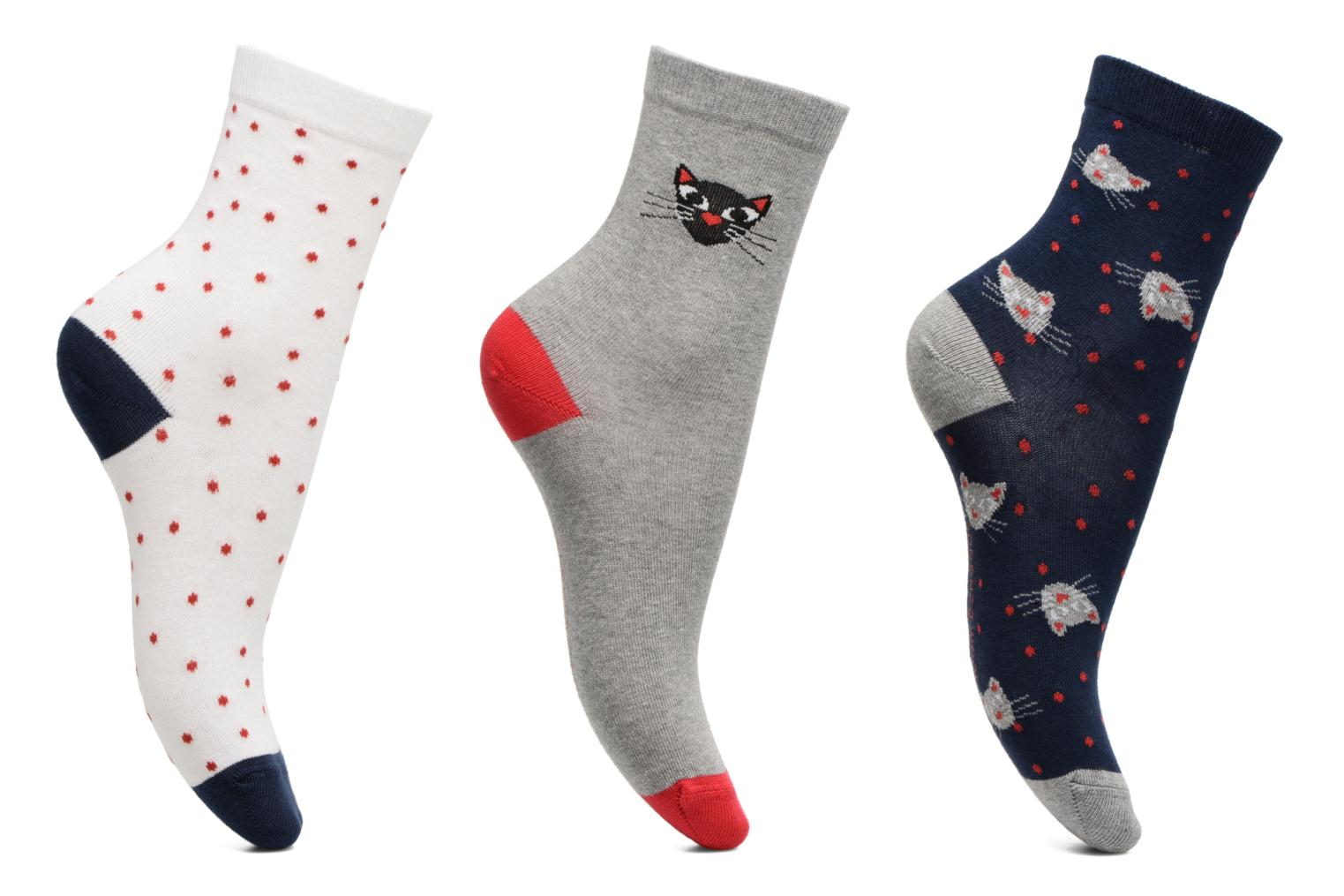 Socks & tights Sarenza Wear Chaussettes Fille Pack de 3 Chat Grey detailed view/ Pair view