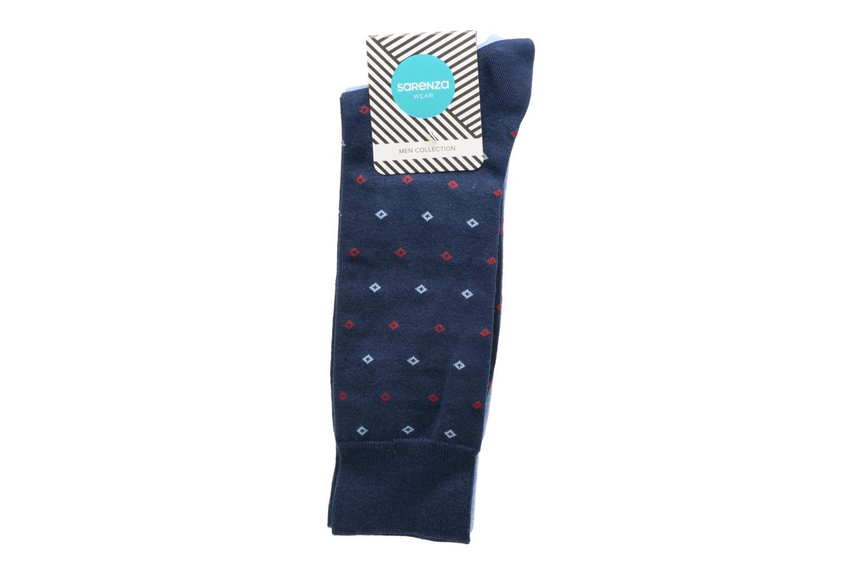Chaussettes Pack de 2 Homme : Carreaux Coton Bleu