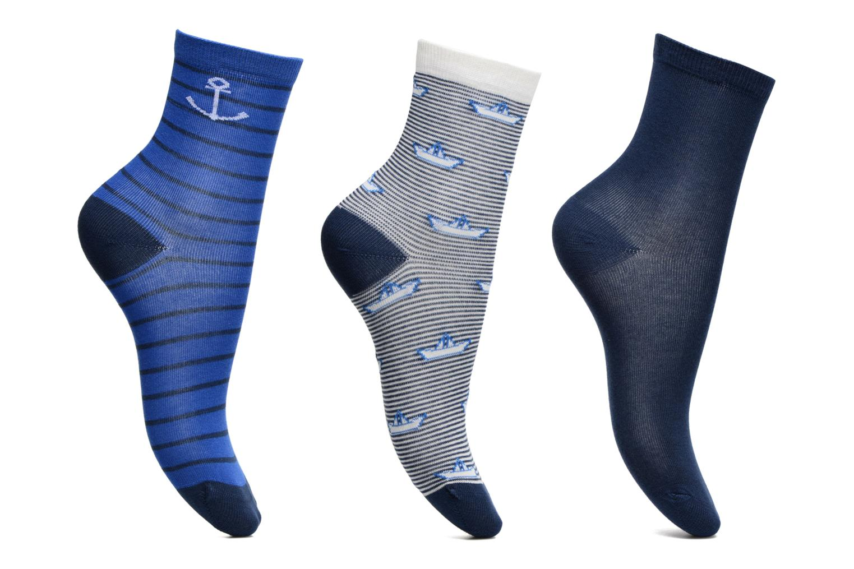 Chaussettes Pack de 3 garçon : Marins Coton Bleu