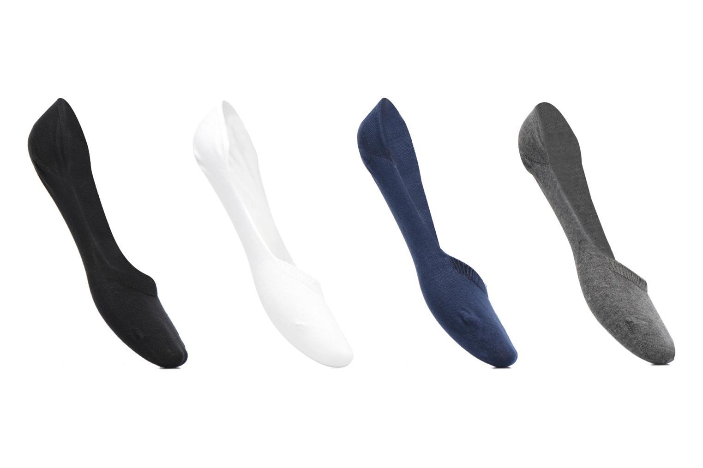 Chaussettes Protèges Pieds Femme : pack de 4 Gris/blanc/bleu/noir