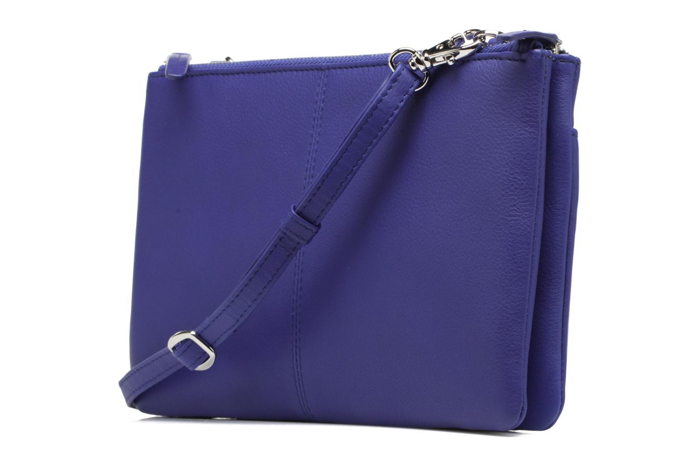 Sacs à main Le Tanneur Pochette double zippée Valentine Bleu vue droite