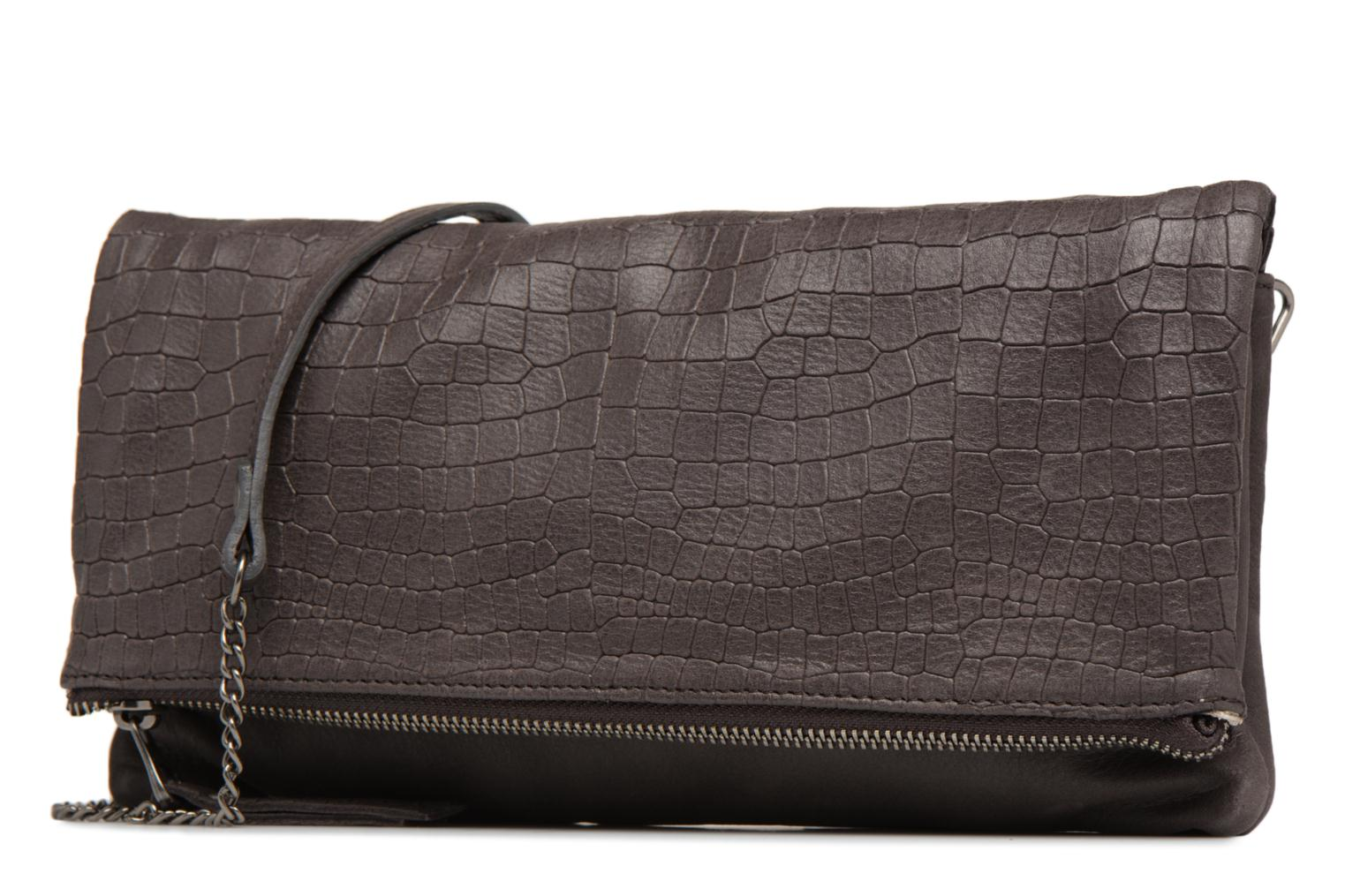 Clutch bags Sabrina Léonie croco Grey model view