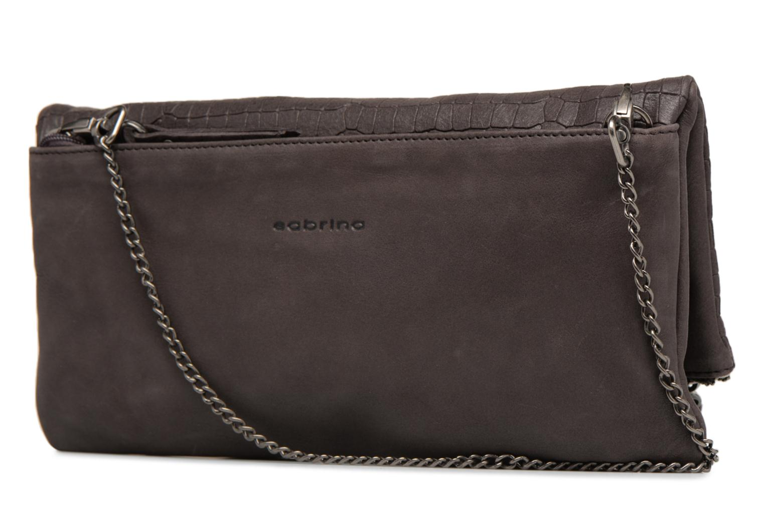Clutch bags Sabrina Léonie croco Grey view from the right