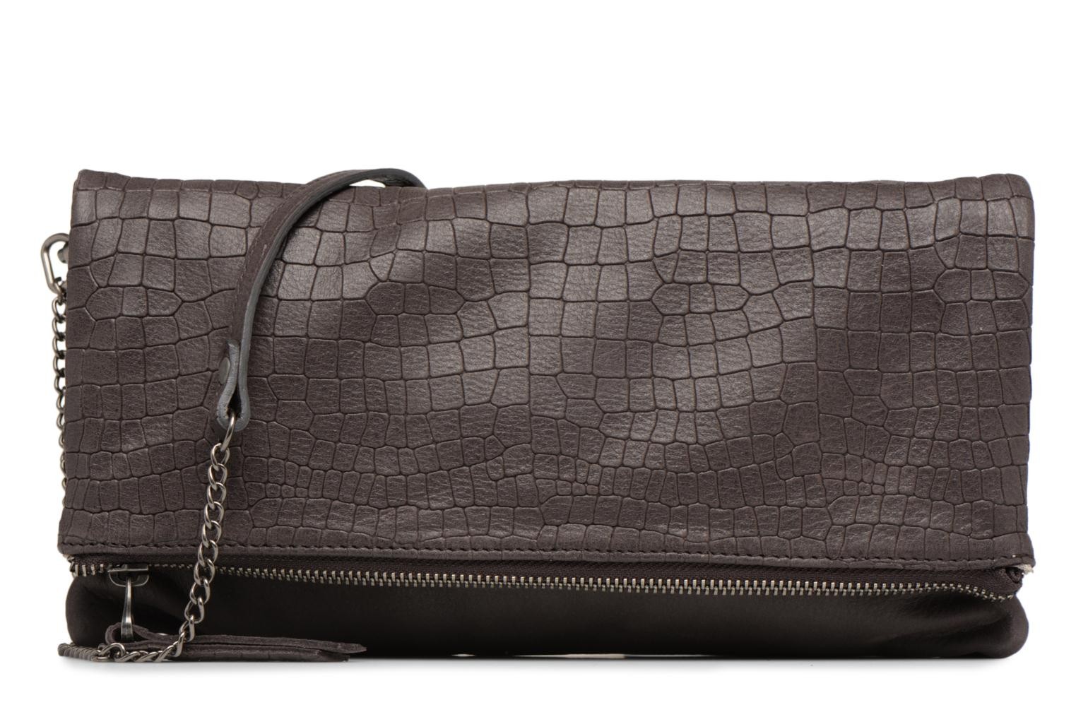 Clutch bags Sabrina Léonie croco Grey detailed view/ Pair view