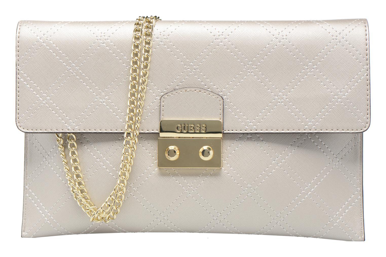 Handtassen Guess Pochette Envelope Clutch Aria Zilver detail
