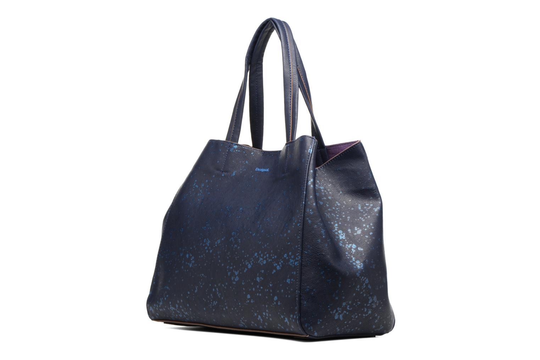 Sacs à main Desigual Cuenca Metal Splatter Shopping bag Bleu vue portées chaussures