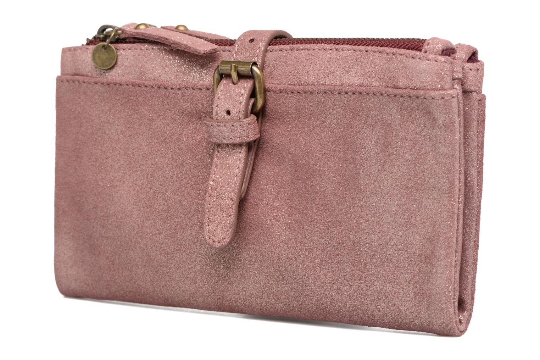 Petite Maroquinerie Esprit Venus Leather Wallet Rose vue portées chaussures
