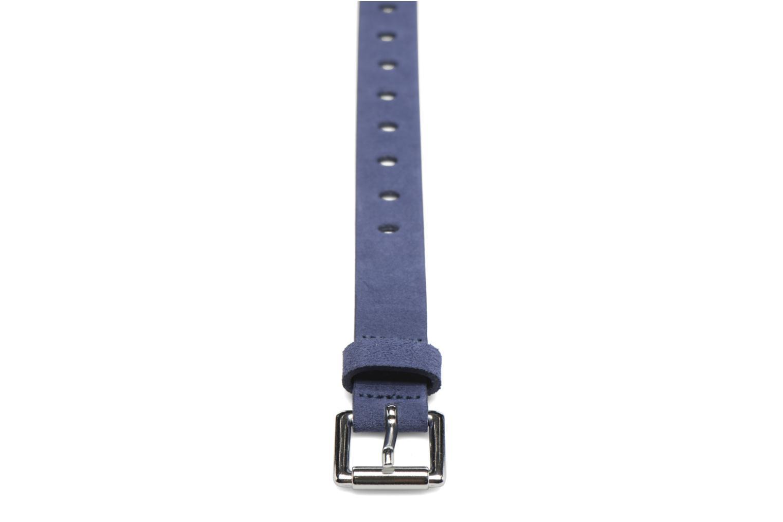 Ceintures Esprit Hole Detail Leather Belt 25mm Bleu vue portées chaussures