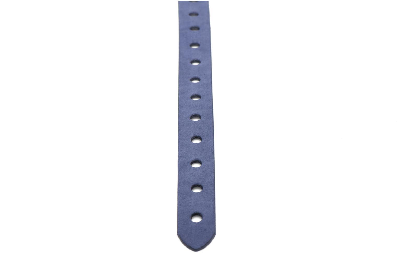 Hole Detail Leather Belt 25mm Navy