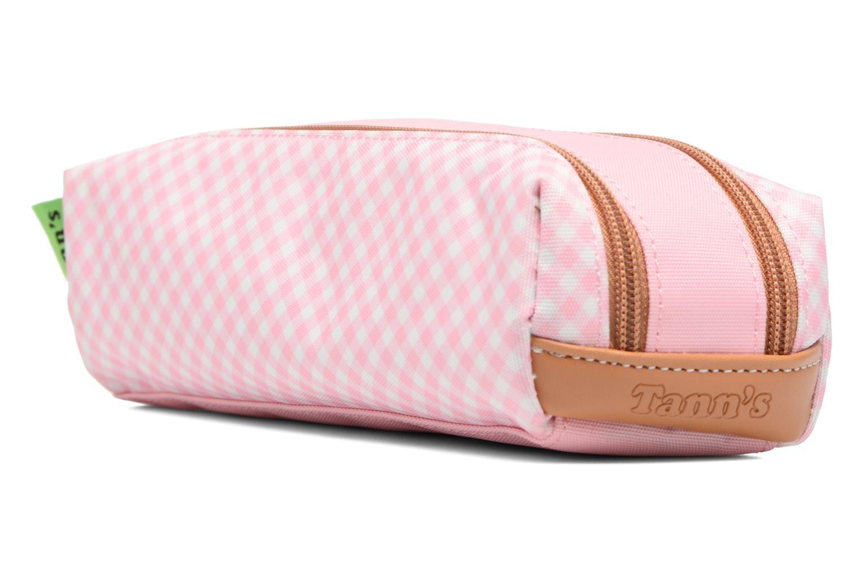 Scolaire Tann's Trousse double Vichy Rose vue portées chaussures