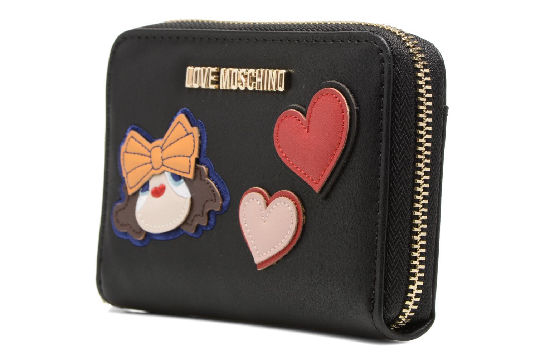 Petite Maroquinerie Love Moschino Portefeuille Girls & Heart Noir vue portées chaussures