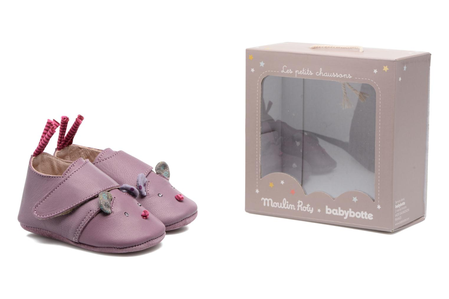 Chaussons Babybotte Souris - Moulin Roty Violet vue 3/4