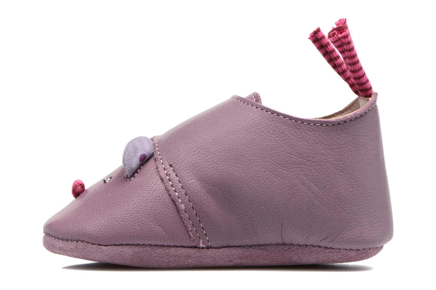 Chaussons Babybotte Souris - Moulin Roty Violet vue face