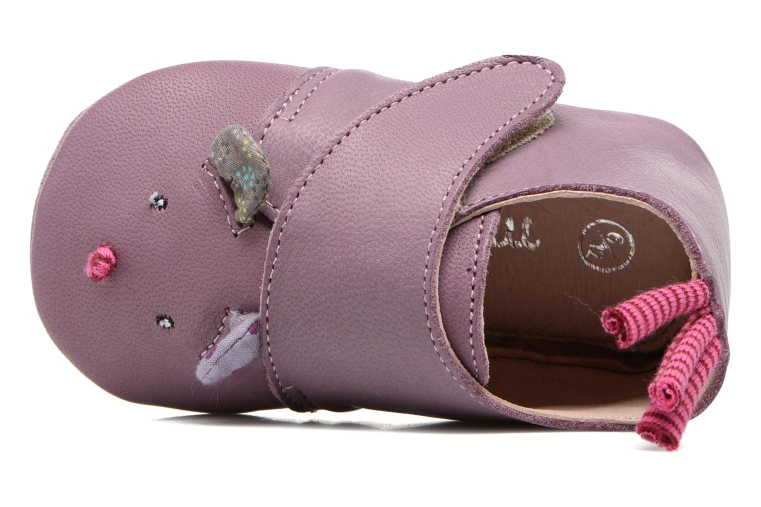 Chaussons Babybotte Souris - Moulin Roty Violet vue gauche