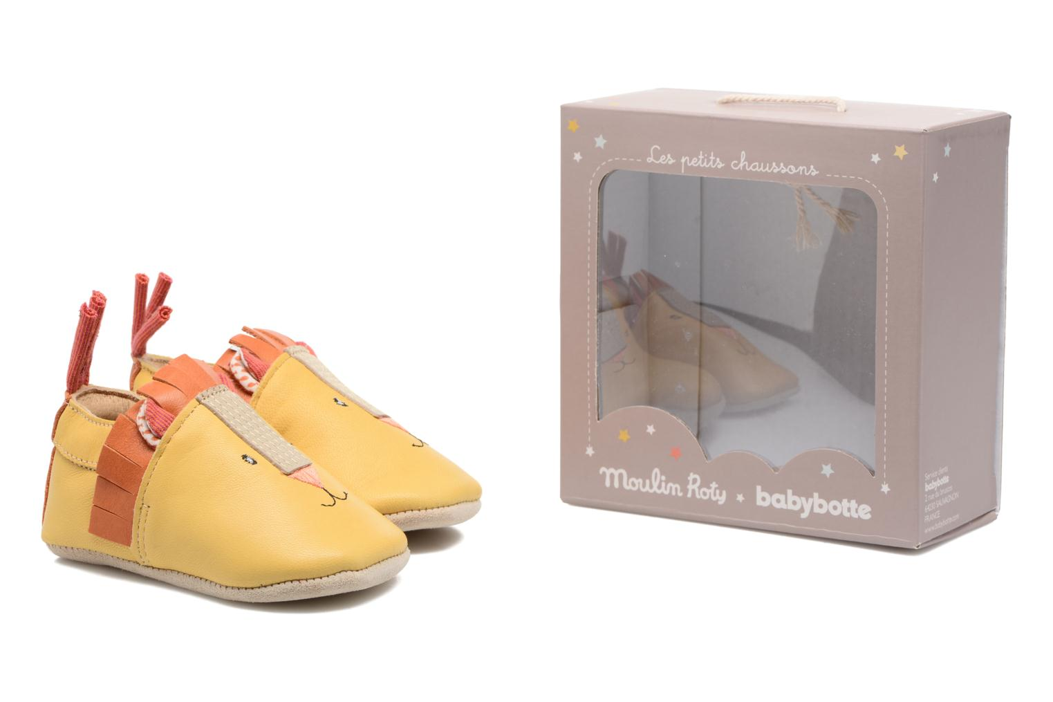 Chaussons Babybotte Lion - Moulin Roty Jaune vue 3/4