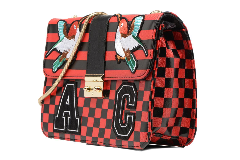 CATY Shoulder bag L Carreaux rouge/noir