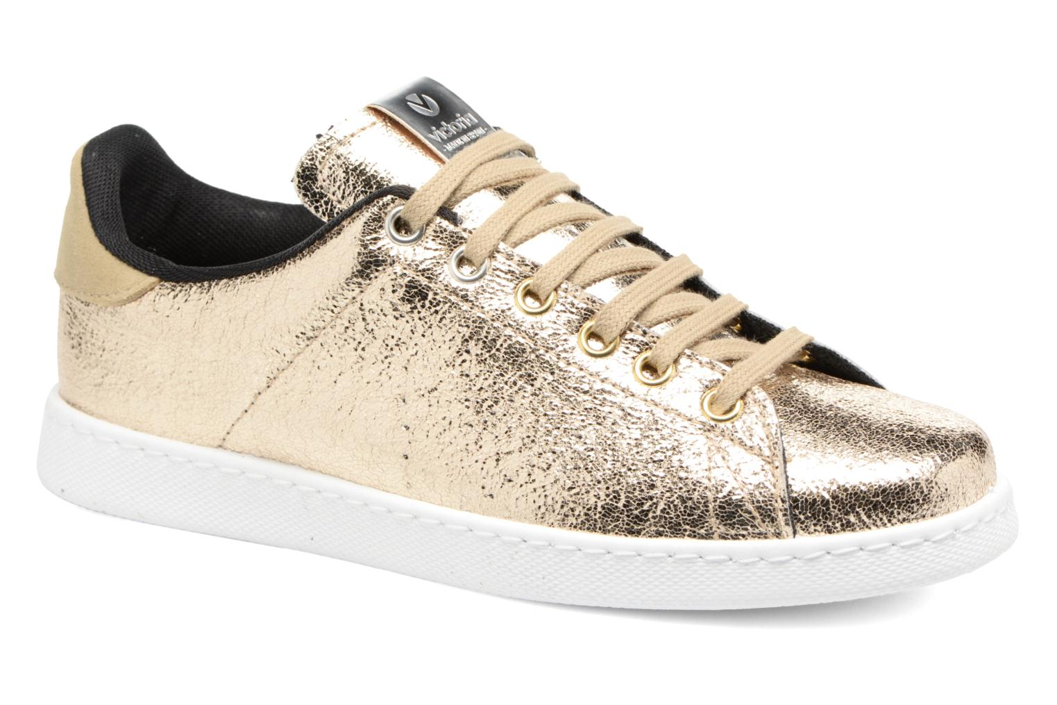 Trainers Victoria Deportivo Craquelado Bronze and Gold detailed view/ Pair  view