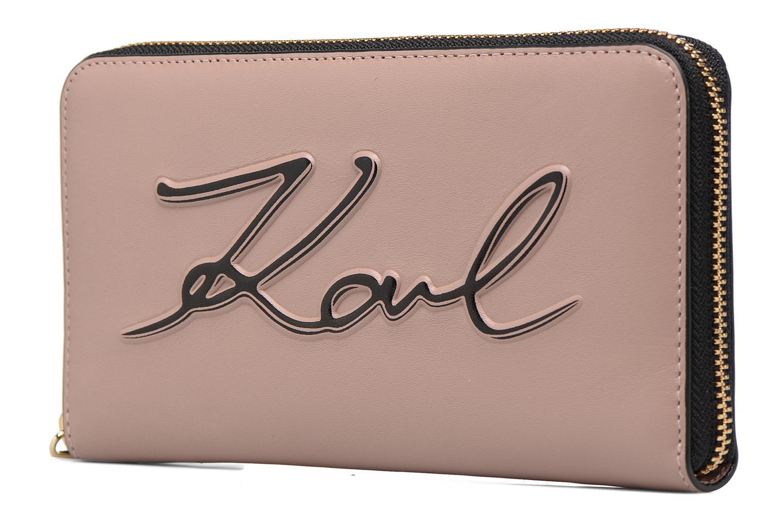 Petite Maroquinerie Karl Lagerfeld Kmetal Signature Zip Wallet Rose vue portées chaussures