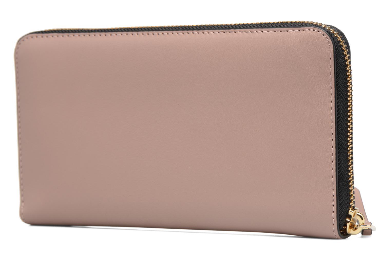 Petite Maroquinerie Karl Lagerfeld Kmetal Signature Zip Wallet Rose vue droite