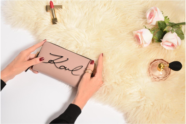 Petite Maroquinerie Karl Lagerfeld Kmetal Signature Zip Wallet Rose vue haut
