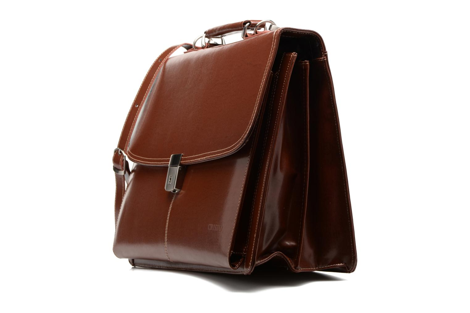 Cartable 2 Soufflets Cuir Metropole marron