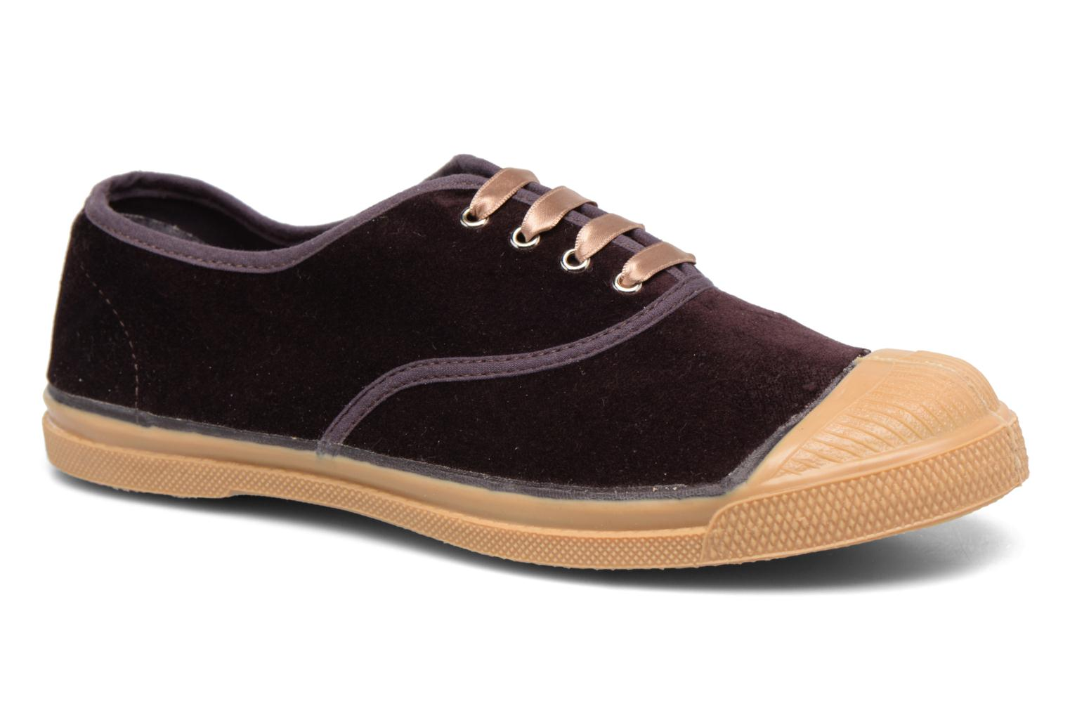 Trainers Bensimon Tennis Velvet Burgundy detailed view/ Pair view