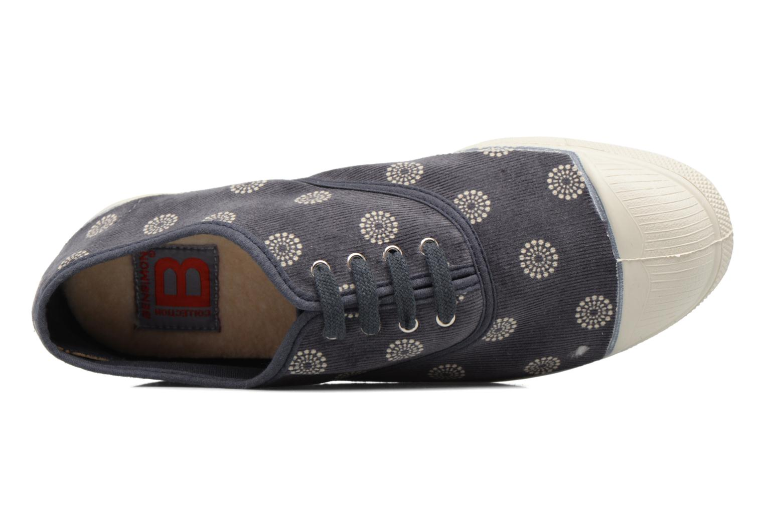 Trainers Bensimon Tennis Corduroy Grey view from the left