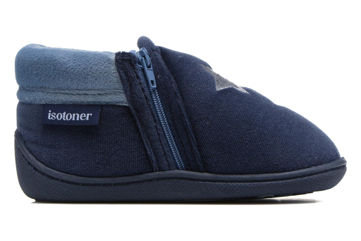 Slippers Isotoner Botillon Zip Polyvelours Blue back view
