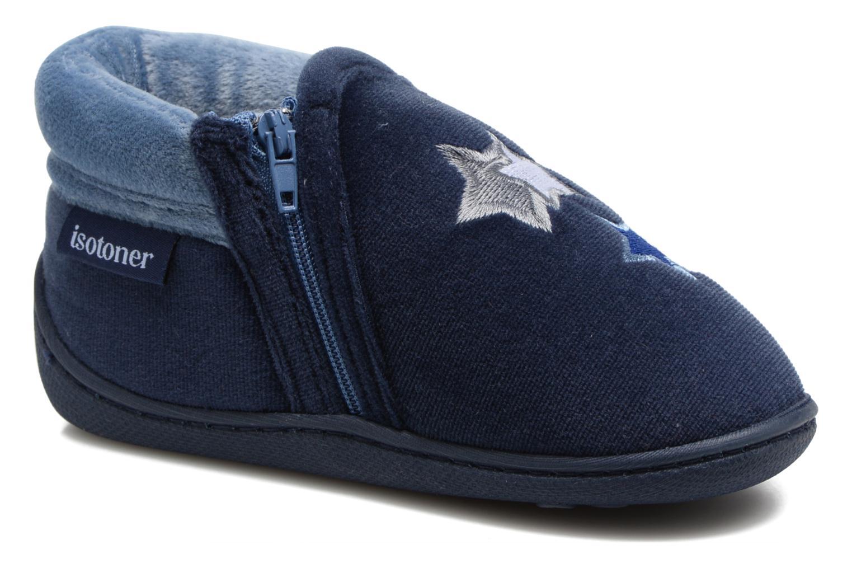 Pantofole Isotoner Botillon Zip Polyvelours Azzurro vedi dettaglio/paio