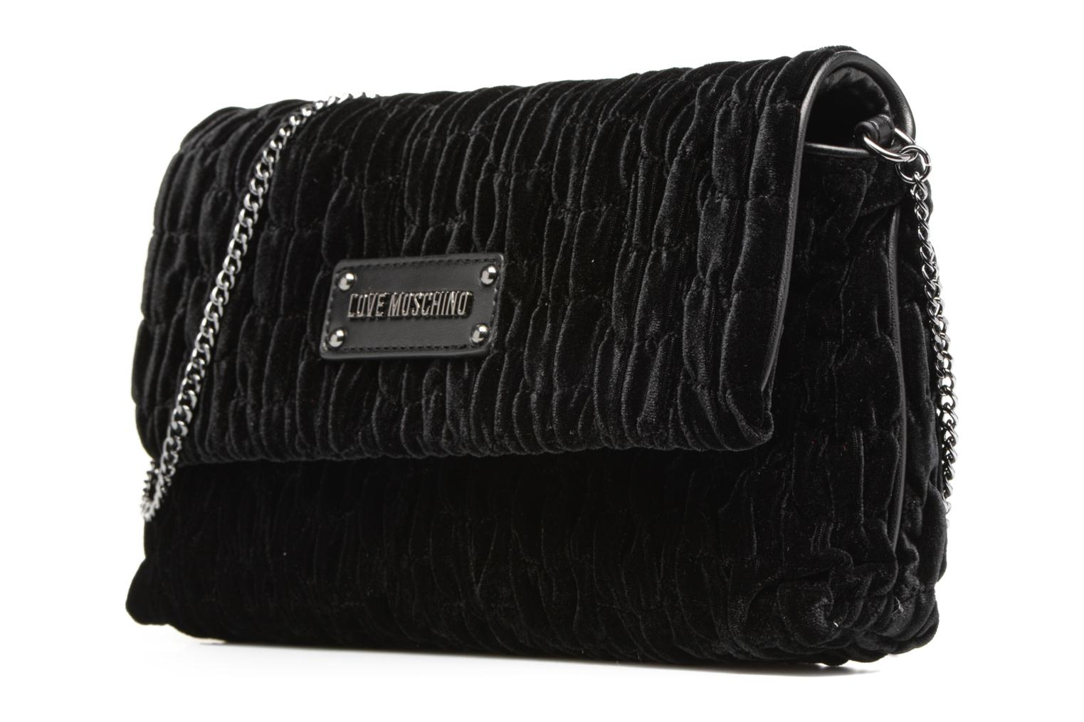 Handbags Love Moschino Pochette Chaine Velvet Black model view