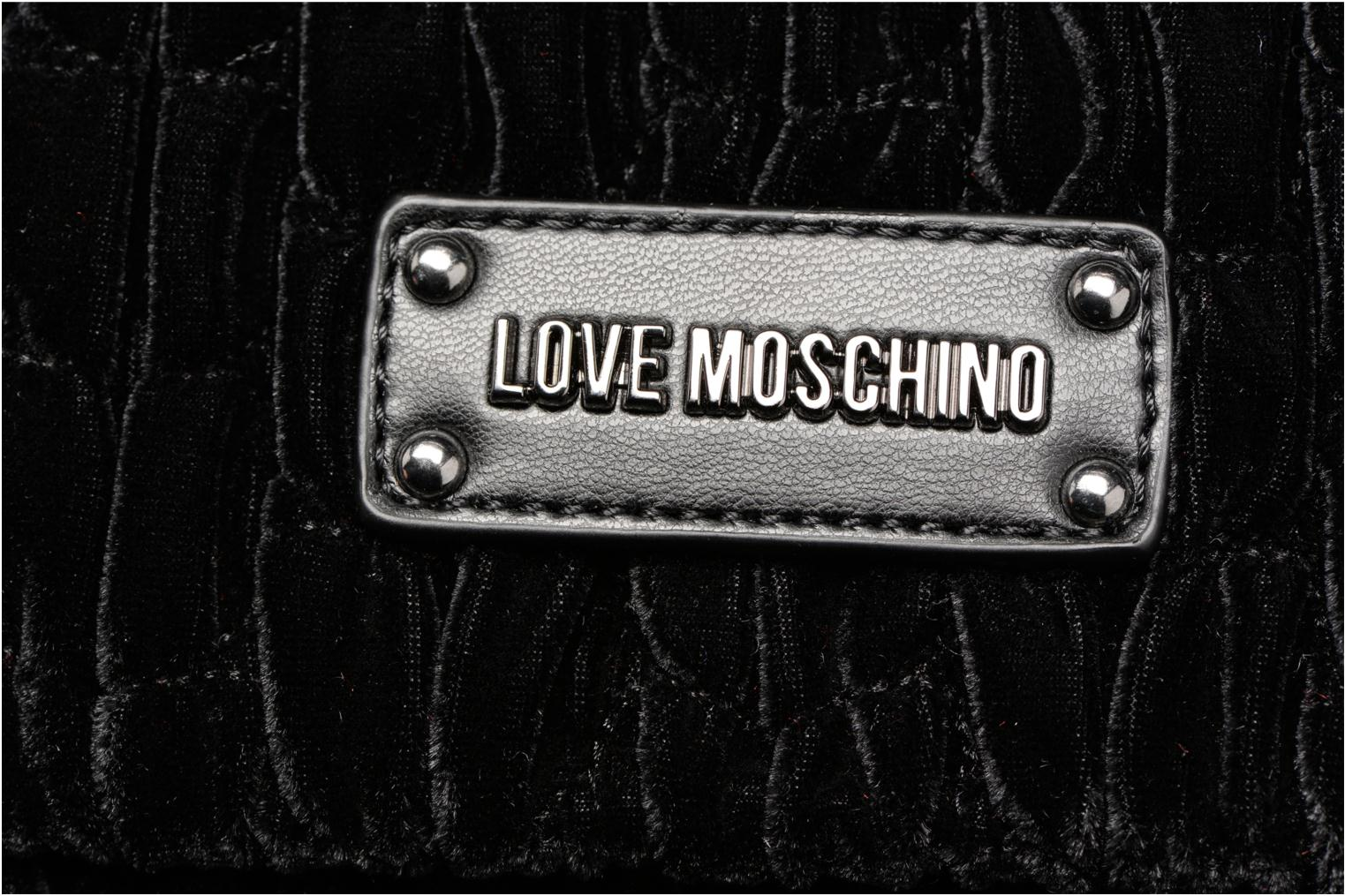 Handbags Love Moschino Pochette Chaine Velvet Black view from the left