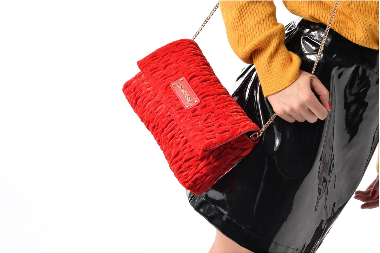 Handtassen Love Moschino Pochette Chaine Velvet Zwart boven