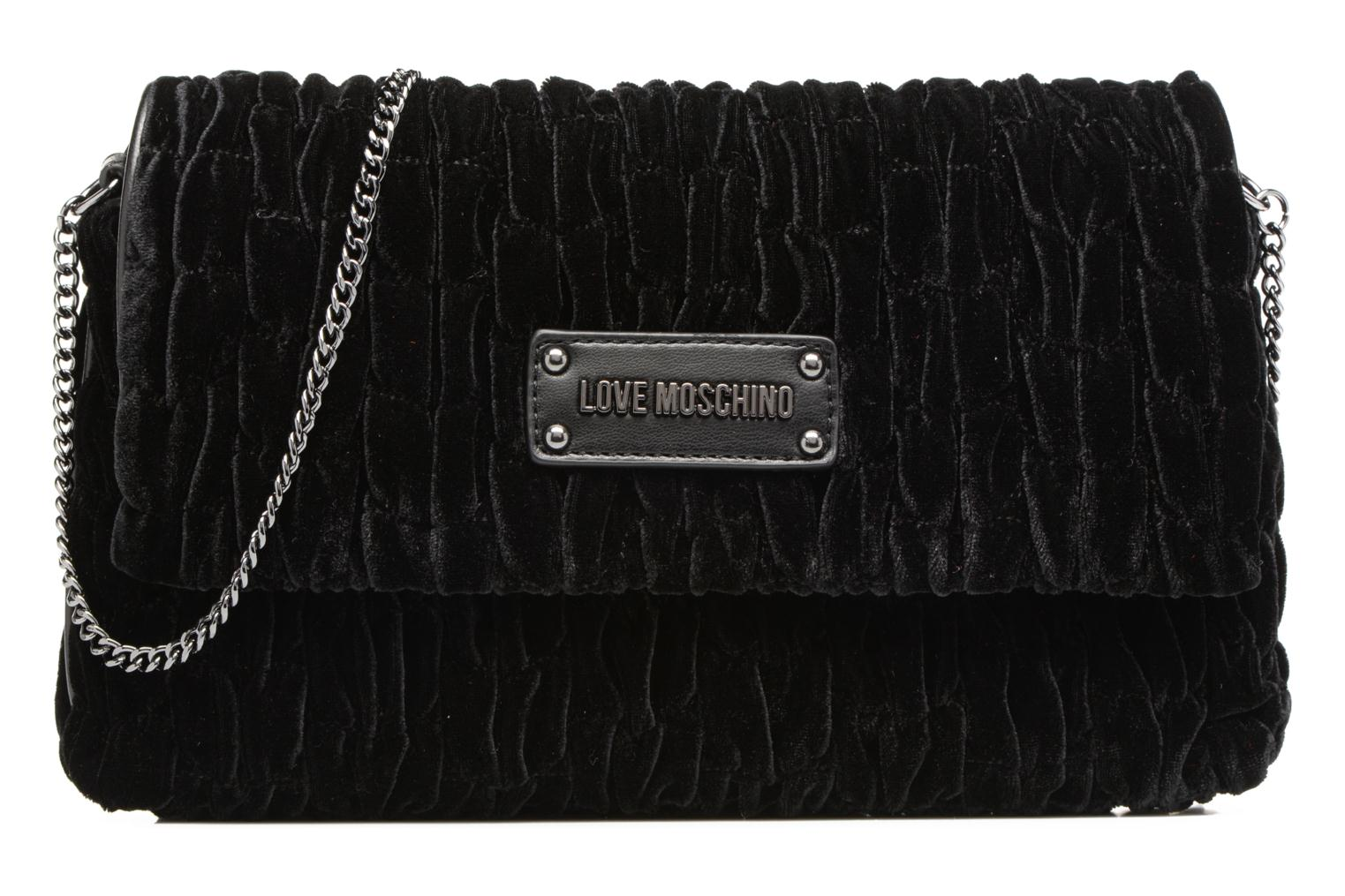 Handbags Love Moschino Pochette Chaine Velvet Black detailed view/ Pair view