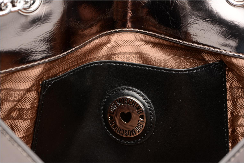 Bolsos de mano Love Moschino Porté épaule Metalic Embossed and Hearts Oro y bronce vistra trasera