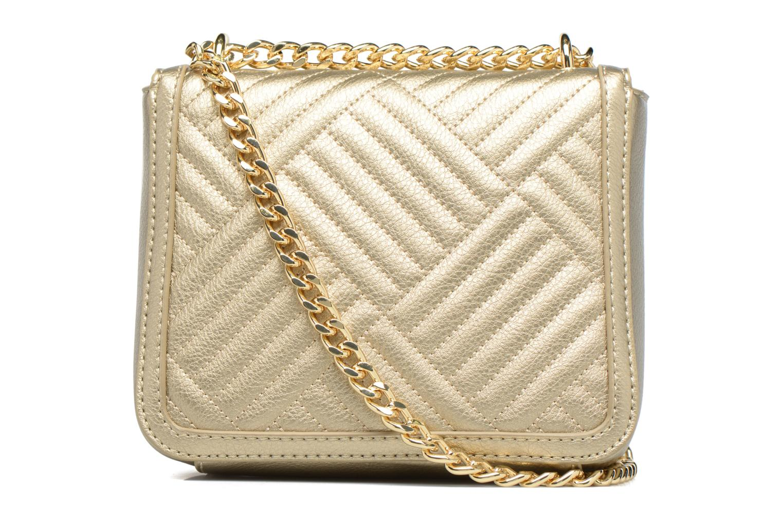 Handbags Love Moschino Crossbody Chaine Shiny Quilted Bronze and Gold front view