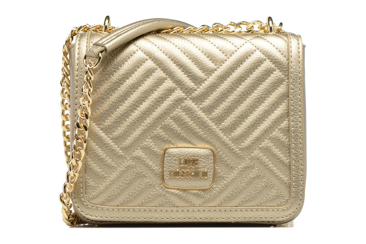 Handbags Love Moschino Crossbody Chaine Shiny Quilted Bronze and Gold detailed view/ Pair view