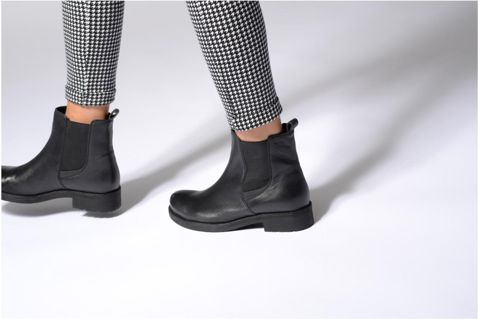 Ankle boots Geox D New Virna F D7451F Black view from underneath / model view