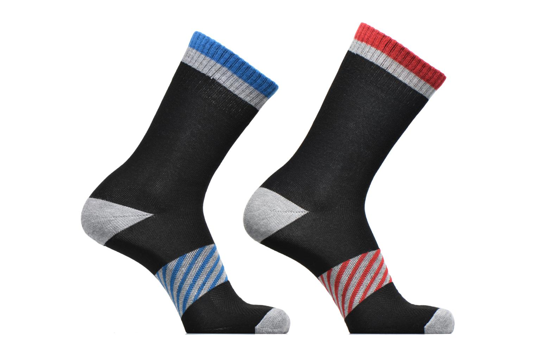 Chaussettes Sport X-TEMP Lot de 2 Noir motif rouge feu / bleu mer