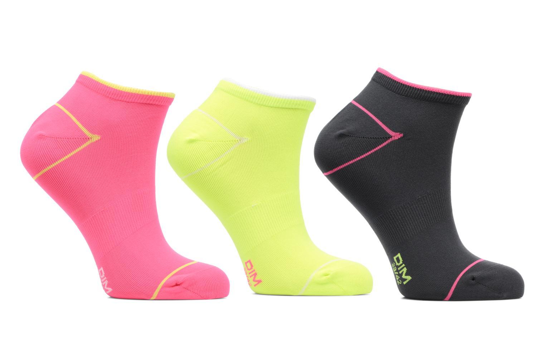 Socquettes courtes sport Lot de 3 Rose fluo / gris foncé / jaune fluo
