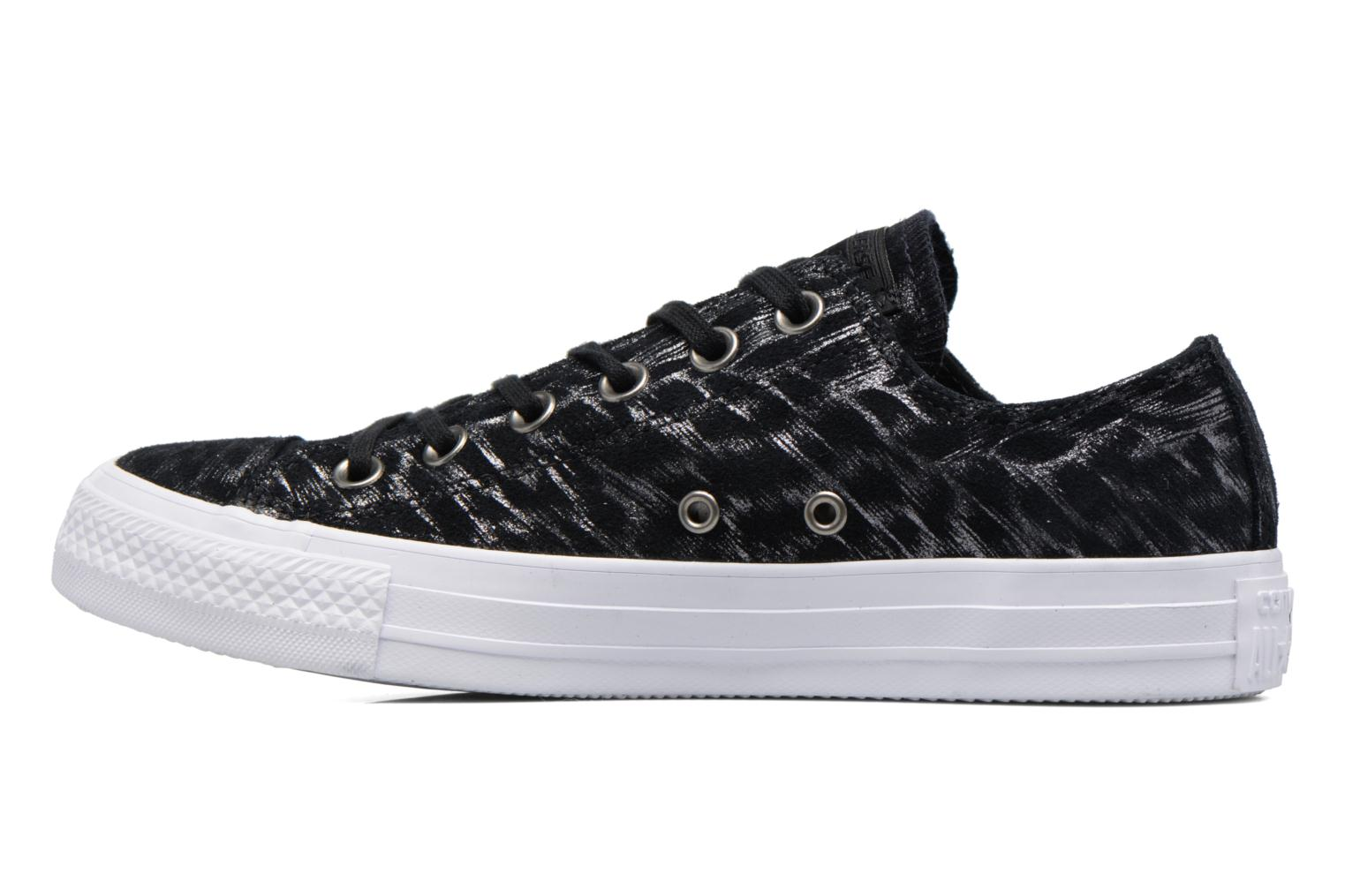 Baskets Converse Chuck Taylor All Star Shimmer Suede Ox Noir vue face