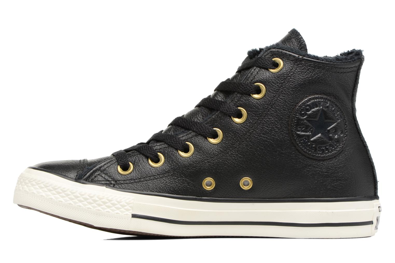 Baskets Converse Chuck Taylor All Star Leather + Fur Hi Noir vue face