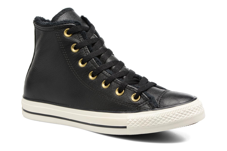 Baskets Converse Chuck Taylor All Star Leather + Fur Hi Noir vue détail/paire