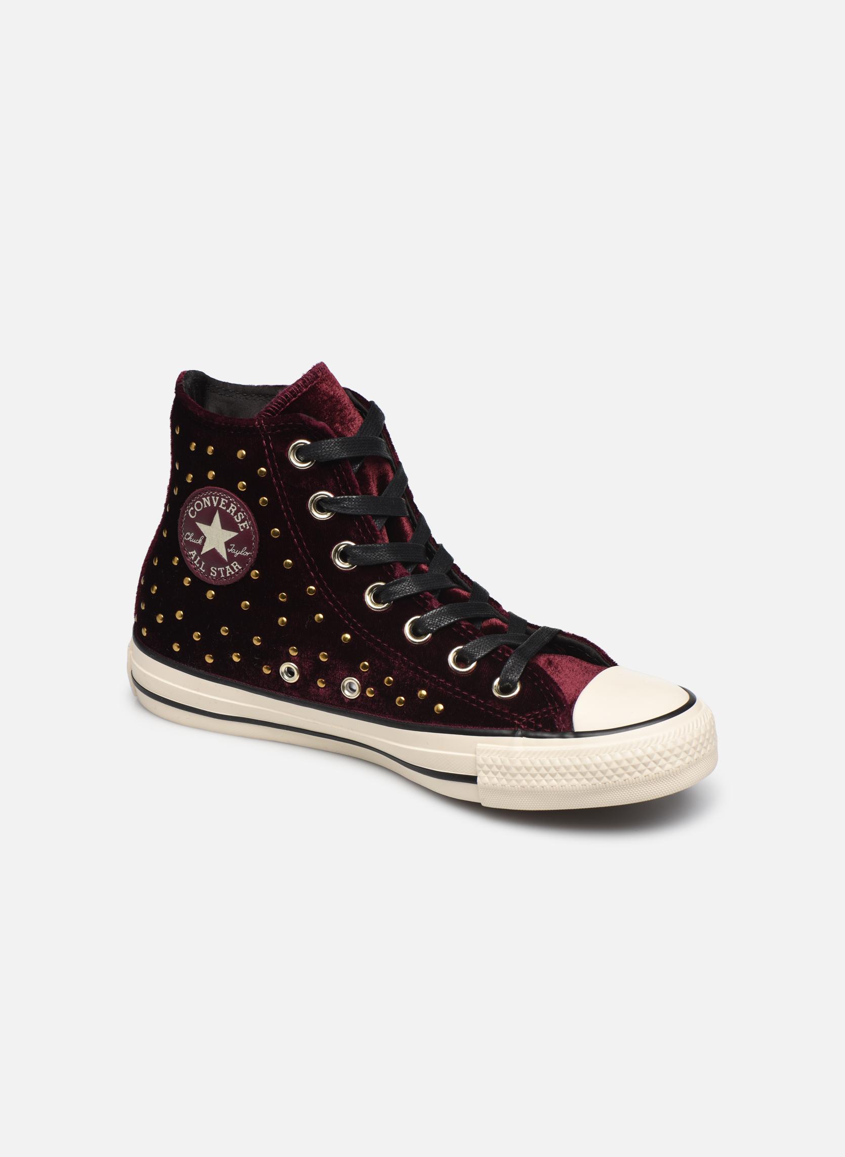 b3addb4e1 Grandes descuentos últimos zapatos Converse Chuck Taylor All Star Velvet  Studs Hi (Vino) -