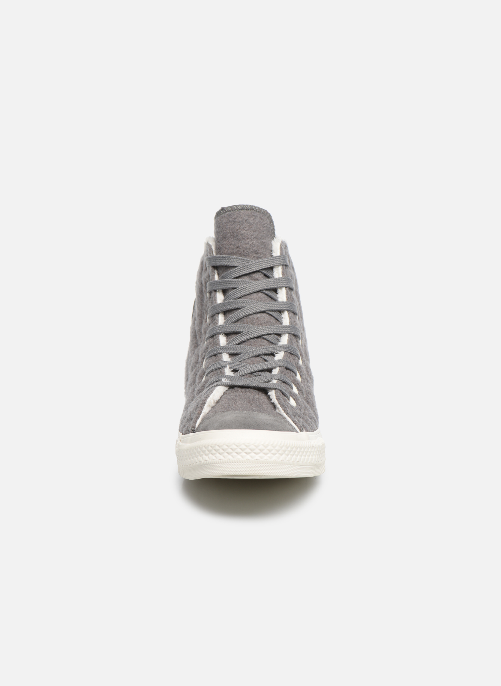 Baskets Converse Chuck Taylor All Star Wool Hi Gris vue portées chaussures