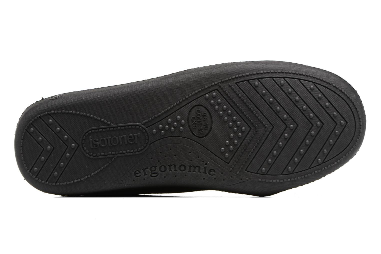Chaussons Isotoner Mocassin ergonomique suédine Noir vue haut