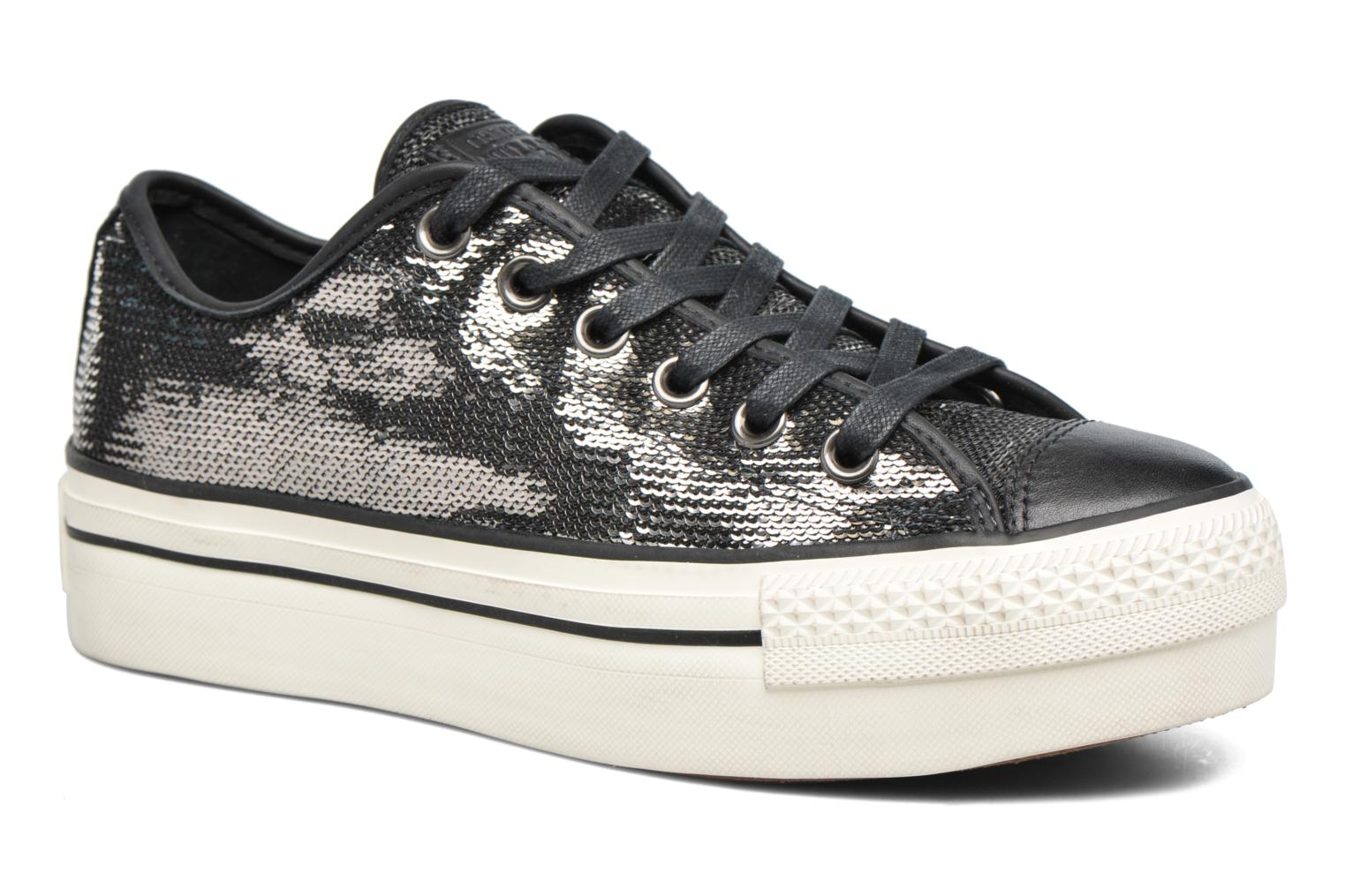 Baskets Converse Chuck Taylor All Star Plateform Distressd Ox Gris vue détail/paire