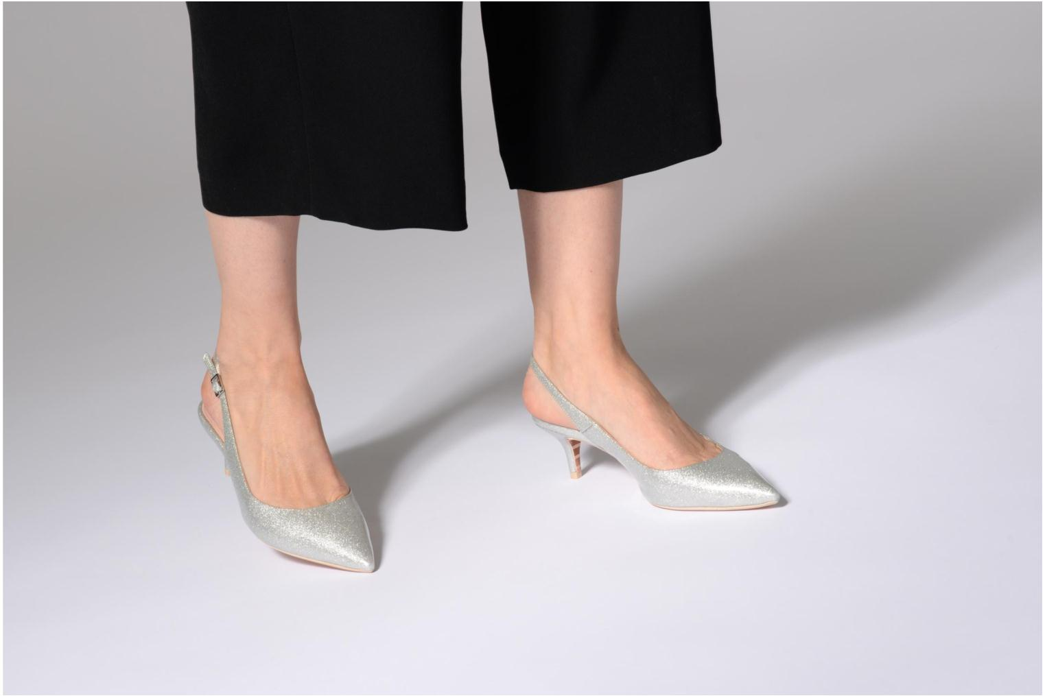 High heels Dune London CASANDRA Silver view from underneath / model view
