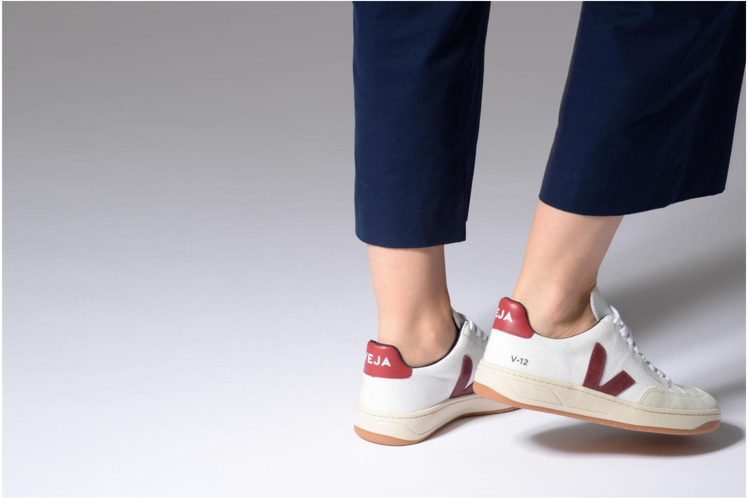 Trainers Veja V-12 W Beige view from underneath / model view