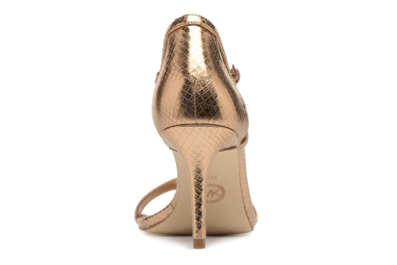 Sandales et nu-pieds Michael Michael Kors Simone mid sandal Or et bronze vue droite