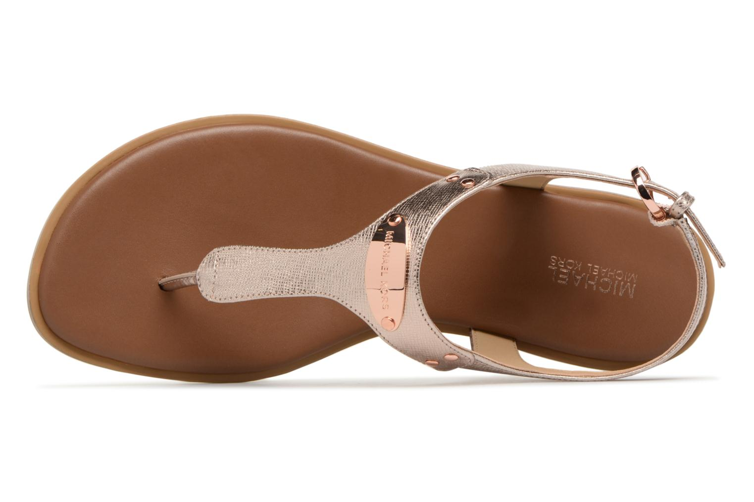 Sandals Michael Michael Kors Mk Plate tongue Pink view from the left